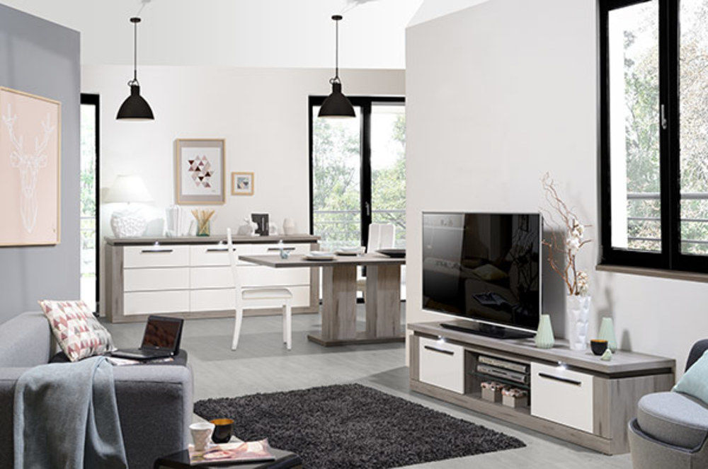 Meuble tv oslo chene gris blanc brillant for Meuble blanc sejour