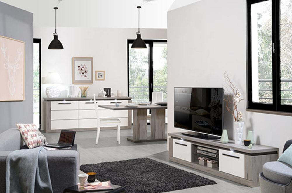 Meuble tv oslo chene gris blanc brillant for Meuble sejour blanc
