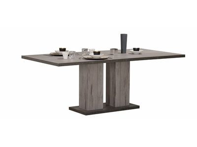 Table de repas Oslo chene gris/blanc brillant