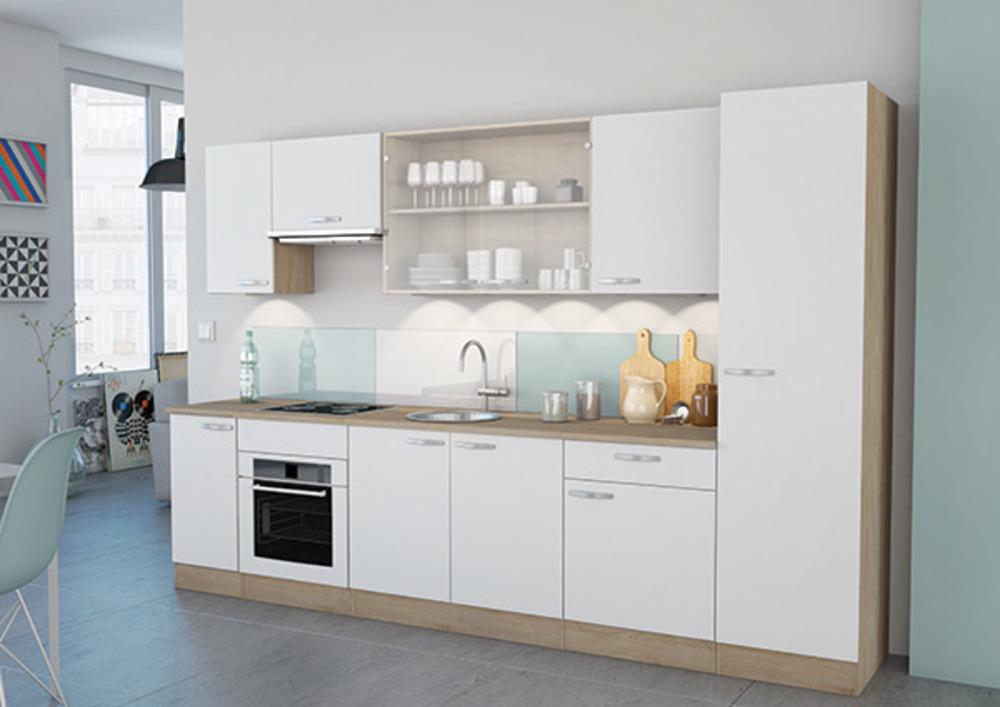 cuisine complete bianca cuisine complete blanc mat chene bross. Black Bedroom Furniture Sets. Home Design Ideas