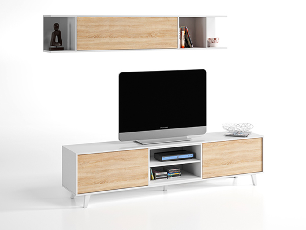 Meuble tv tag re murale domino plus blanc brillant chene for Meuble sejour tv