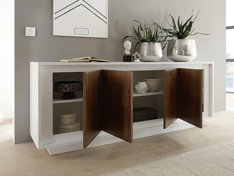 bahut 4 portes sky prato blanc mat ch ne cognac. Black Bedroom Furniture Sets. Home Design Ideas