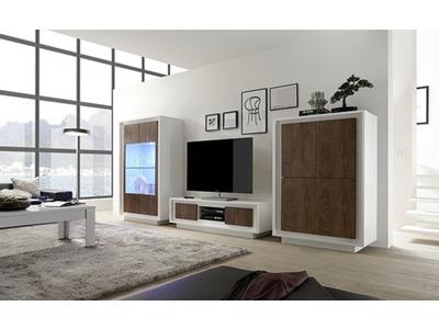Meuble tv Prato  blanc mat/chene cognac