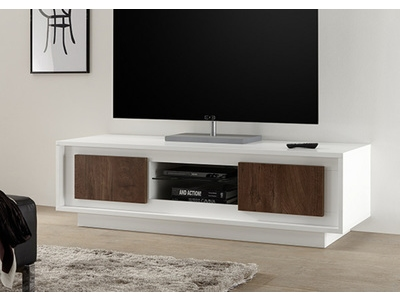 meuble tv sky blanc mat chene cognac. Black Bedroom Furniture Sets. Home Design Ideas
