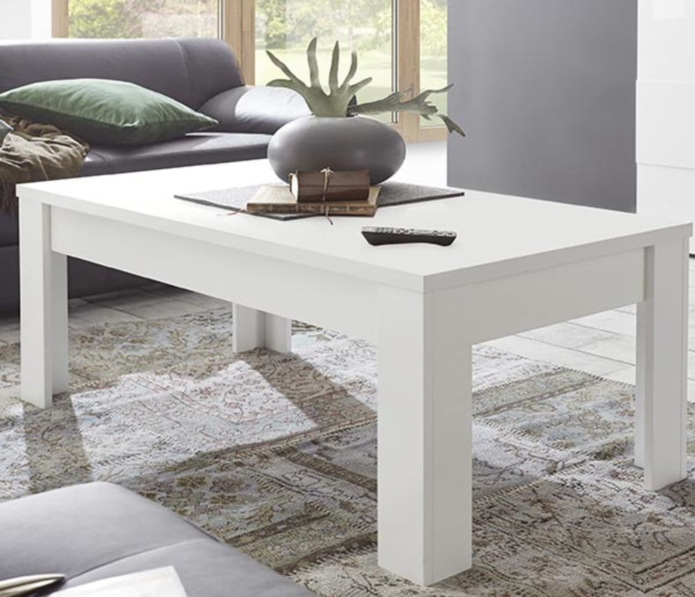 Table basse sky prato blanc mat ch ne cognac for H h createur de meubles