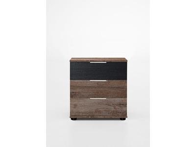 Chevet 3 tiroirs Virgo chene noir/chene chataigne