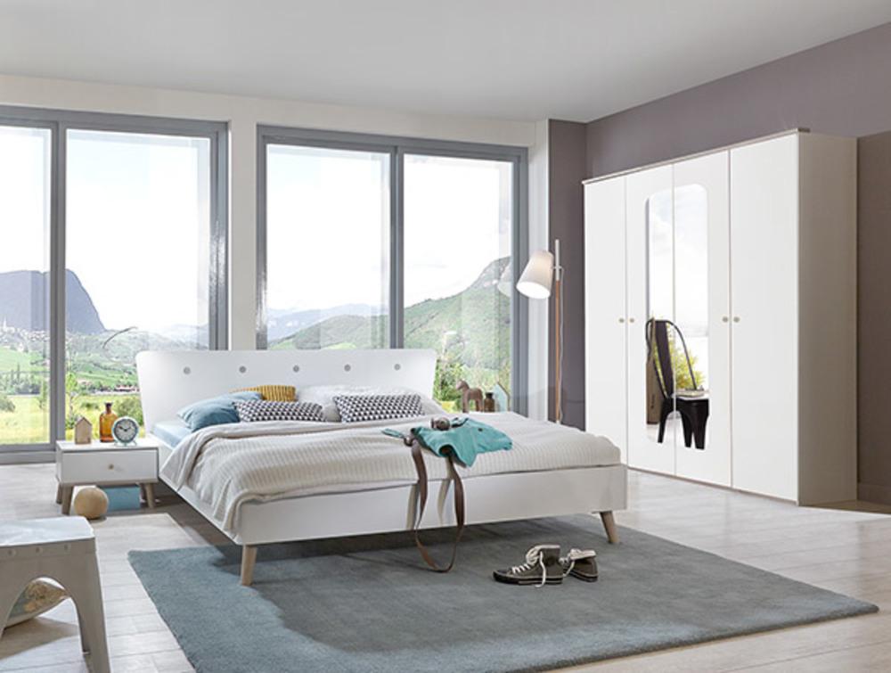 armoire 5 portes 6 tiroirs bergen blanc chene. Black Bedroom Furniture Sets. Home Design Ideas