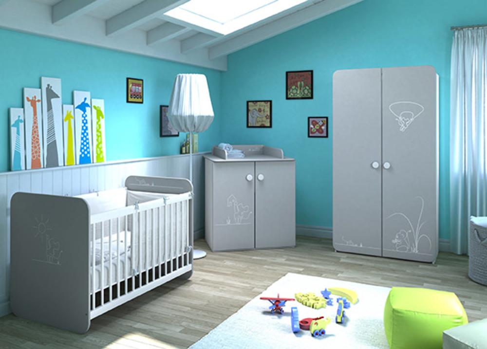 Armoire petite souris gris blanc for Chambre enfant en solde