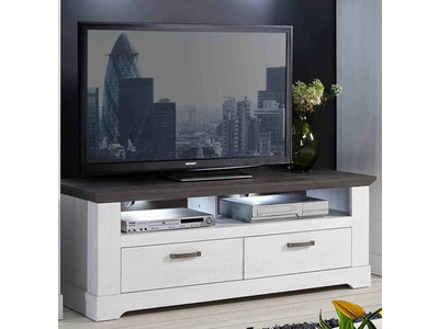 meuble tv genova blanc chene sonoma. Black Bedroom Furniture Sets. Home Design Ideas