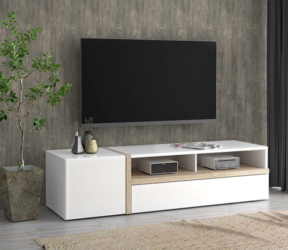 meuble tv bianko blanc brillant chene clair. Black Bedroom Furniture Sets. Home Design Ideas