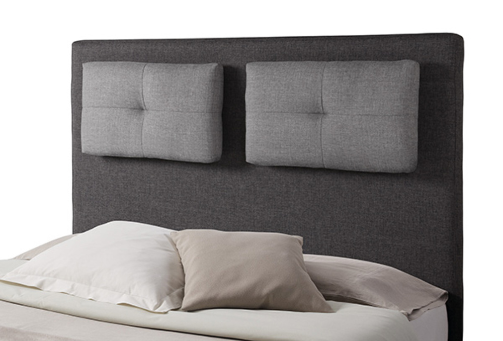 tete de lit avec coussin mirko 2 gris anthracite gris perle l 140 x h 120 x p 18. Black Bedroom Furniture Sets. Home Design Ideas