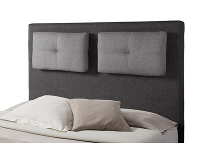 tete de lit avec coussin mirko 2 gris anthracite gris perle l 160 x h 120 x p 18. Black Bedroom Furniture Sets. Home Design Ideas
