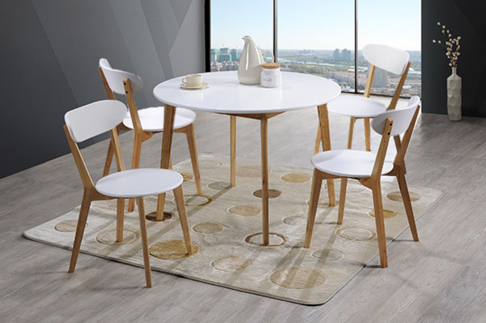 ensemble table 4 chaises malmo oslo blanc naturel. Black Bedroom Furniture Sets. Home Design Ideas