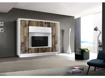 Living Prato  blanc mat/bois