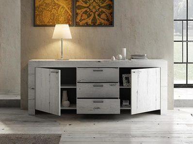 Bahut 2 portes 3 tiroirs Candi chene blanc