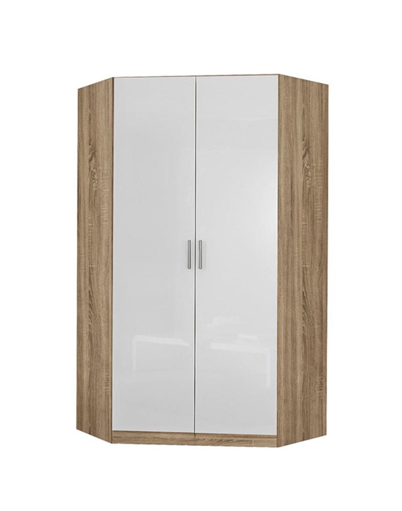 armoire d 39 angle celle chene sonoma blanc brillant. Black Bedroom Furniture Sets. Home Design Ideas
