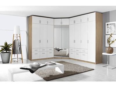 Armoire d'angle 2 portes miroirs Celle chene sonoma/blanc brillant