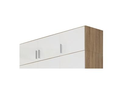 Surmeuble d'armoire 3 portes Celle chene sonoma/blanc brillant