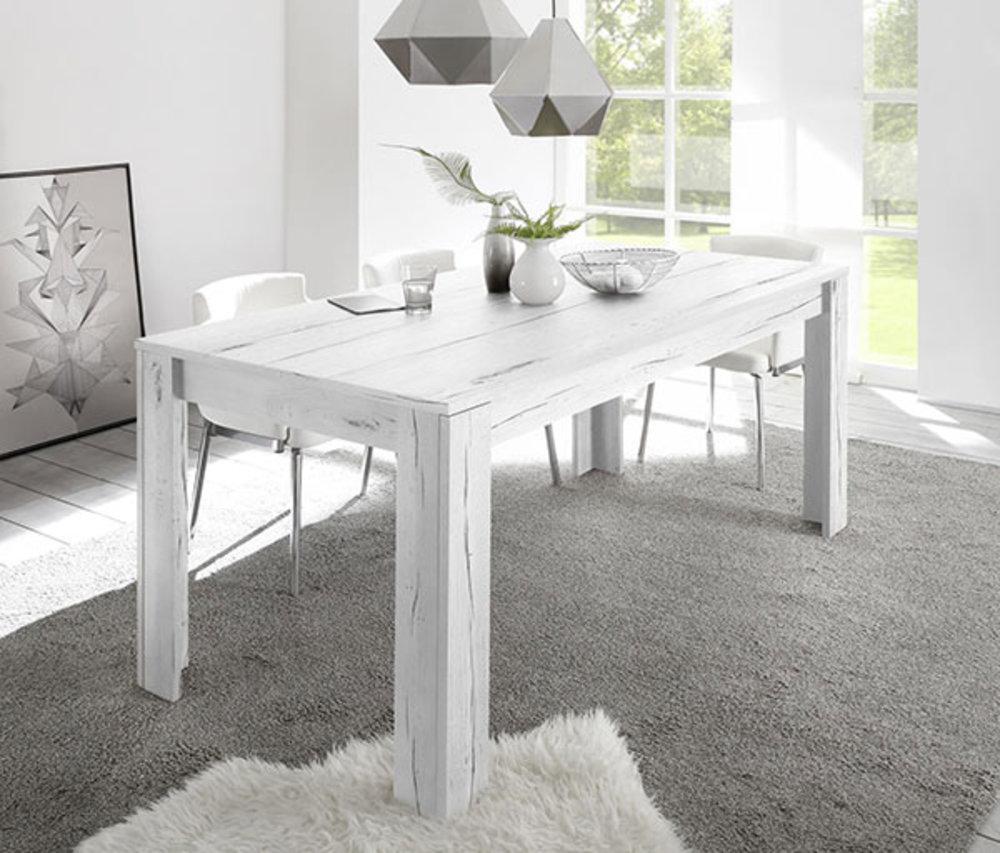 Table de repas Palma / Goa chêne blanchi L 140 X H 79 X P 90