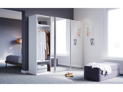 armoire 3 portes coulissantes miroir babylone blanc miroirs. Black Bedroom Furniture Sets. Home Design Ideas