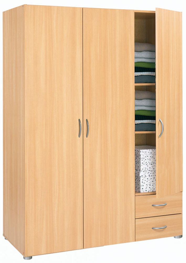 armoire 3 portes 2 tiroirs essentiel hetre. Black Bedroom Furniture Sets. Home Design Ideas