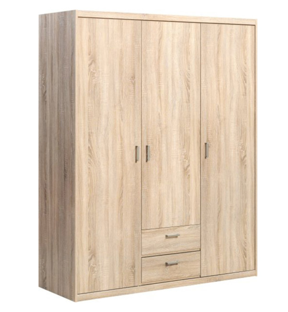 armoire 3 portes 2 tiroirs soft plus chene. Black Bedroom Furniture Sets. Home Design Ideas