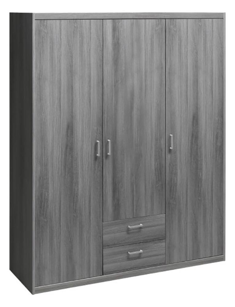 armoire 3 portes 2 tiroirs soft plus chene gris. Black Bedroom Furniture Sets. Home Design Ideas