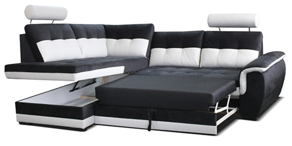 canap d 39 angle droite convertible falco blanc gris anthracite. Black Bedroom Furniture Sets. Home Design Ideas
