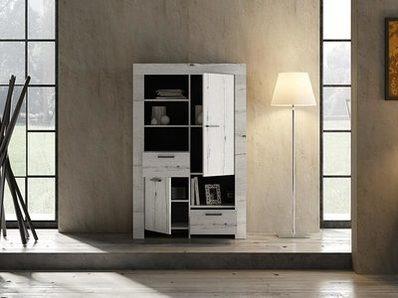 Meuble de rangement 2 portes et 2 tiroirs Candi chene blanc