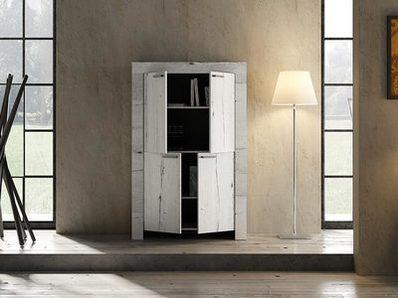 Meuble de rangement 4 portes Candi chene blanc