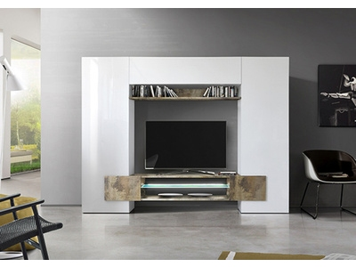 Living gm Trieste blanc brillant/bois