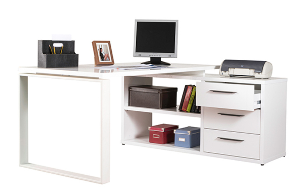 bureau d 39 angle reversible ufficio blanc blanc brillant. Black Bedroom Furniture Sets. Home Design Ideas