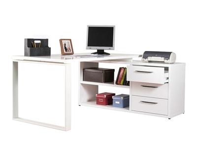 bureau d 39 angle r versible pratico b ton blanc brillant. Black Bedroom Furniture Sets. Home Design Ideas