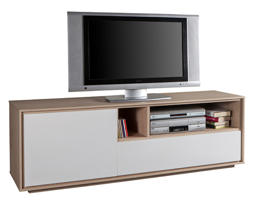 meuble tv pm saturnia chene blanc. Black Bedroom Furniture Sets. Home Design Ideas