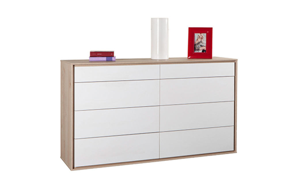 commode 8 tiroirs calaluna chene blanc. Black Bedroom Furniture Sets. Home Design Ideas