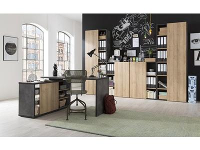 Bibliotheque avec porte Core chene/gris