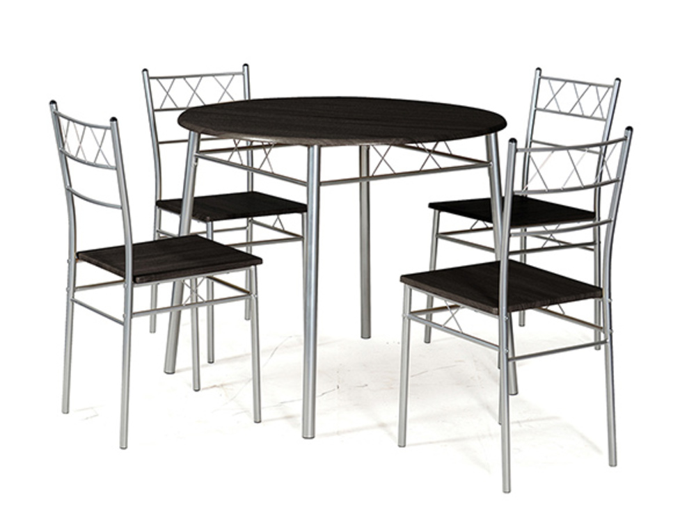Table Ronde 4 Chaises Lota Wengue Gris
