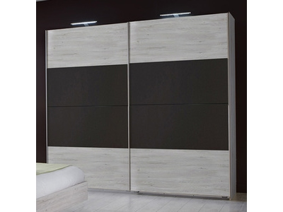 Armoire 2 portes coulissantes Francy chene blanc/rechampis anthracite