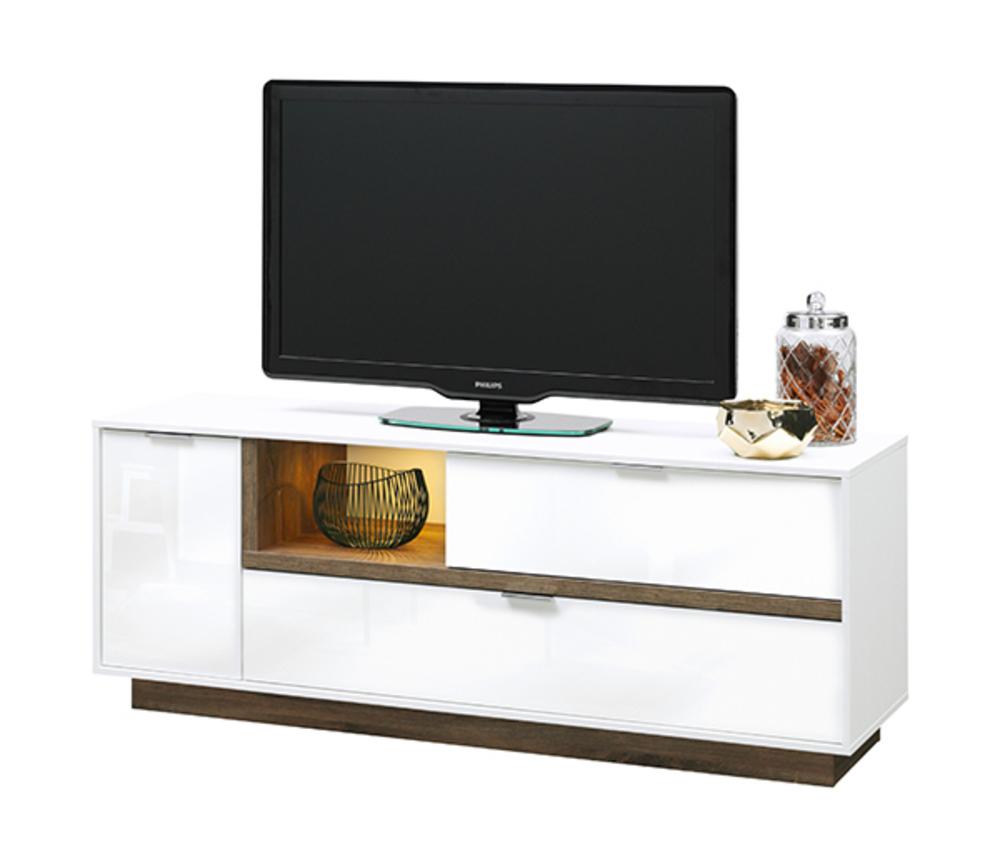 Meuble Tv Myell Blanc Blanc Laqu Chene Stirling L 157 X H 59 X P 43 # Meubles Tv Chene Et Laque Blanc Mat