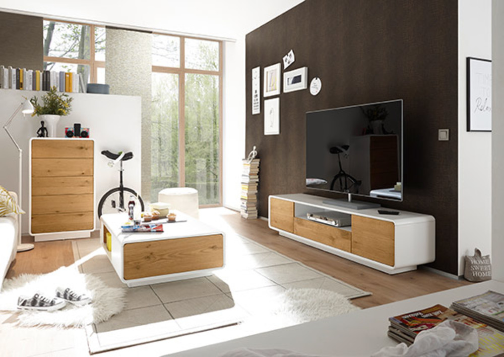 meuble tv toulon blanc mat chene. Black Bedroom Furniture Sets. Home Design Ideas