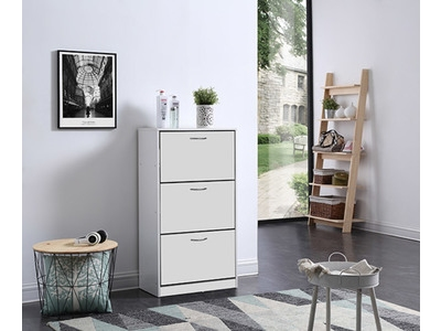 meuble a chaussure 3 abattants bolero blanc. Black Bedroom Furniture Sets. Home Design Ideas