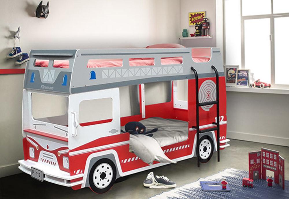 lit superpos pompier rouge blanc. Black Bedroom Furniture Sets. Home Design Ideas