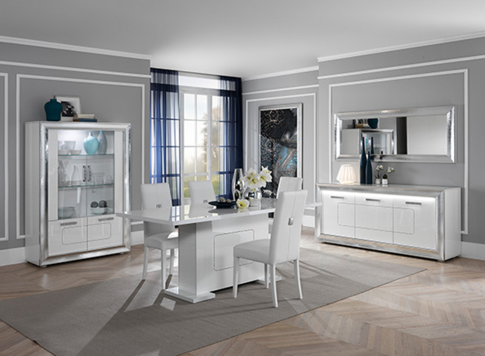 bahut 3 portes nevada blanc brillant. Black Bedroom Furniture Sets. Home Design Ideas