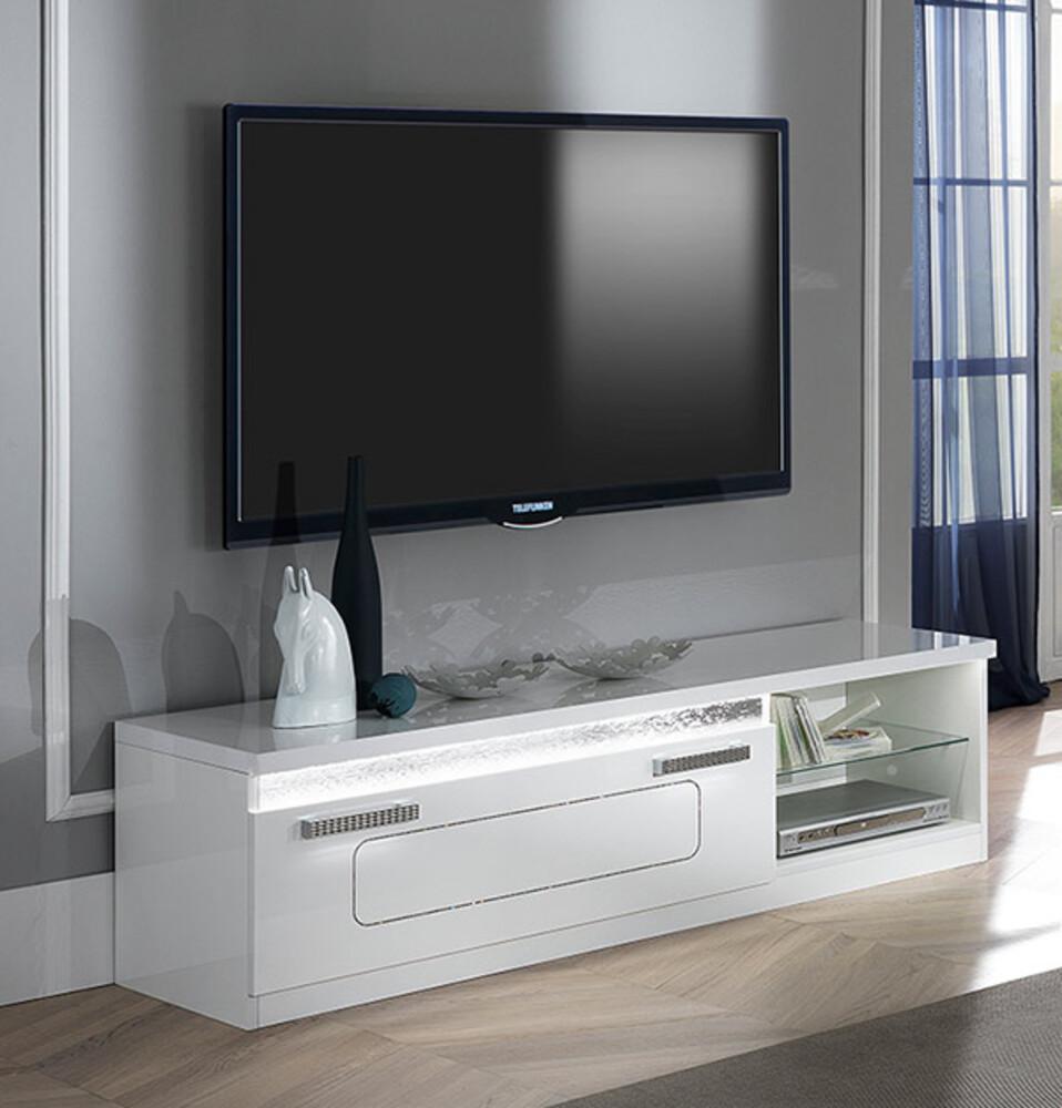 Meuble Tv Nevada Blanc Brillant # Meuble Tv Encadrement