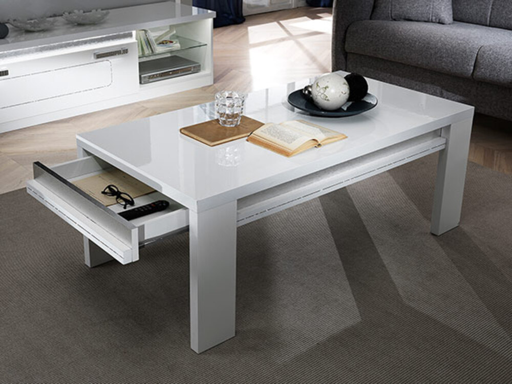 Table basse nevada blanc - Table basse ouvrable ...