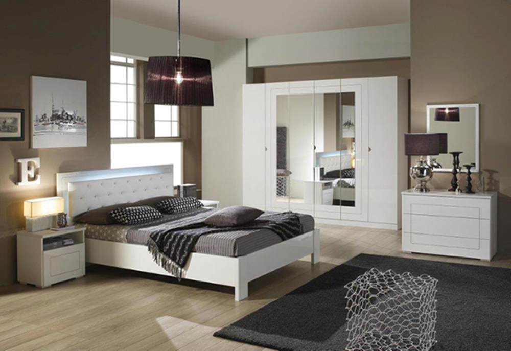 lit avec eclairage alaska blanc brillant l 187 x h 91 x p 211. Black Bedroom Furniture Sets. Home Design Ideas