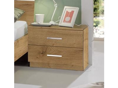 Chevet 2 tiroirs Anna chambre à coucher chene poutre