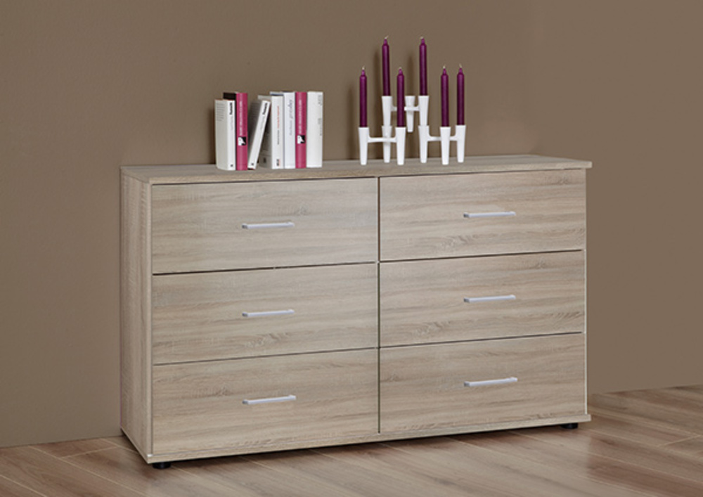 Commode 6 tiroirs anna chambre coucher chene - Commode chambre a coucher ...