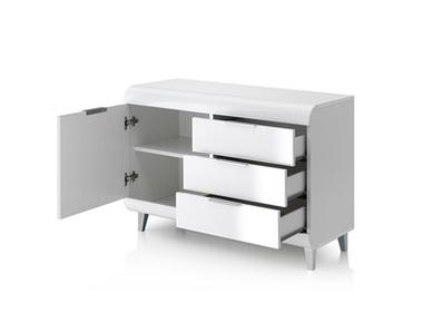 Bahut 1 porte + 3 tiroirs Vega blanc brillant