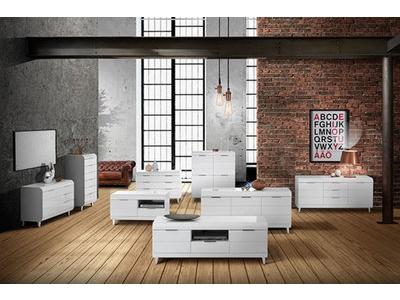 Meuble tv 2 portes 1 tiroir Vega blanc brillant